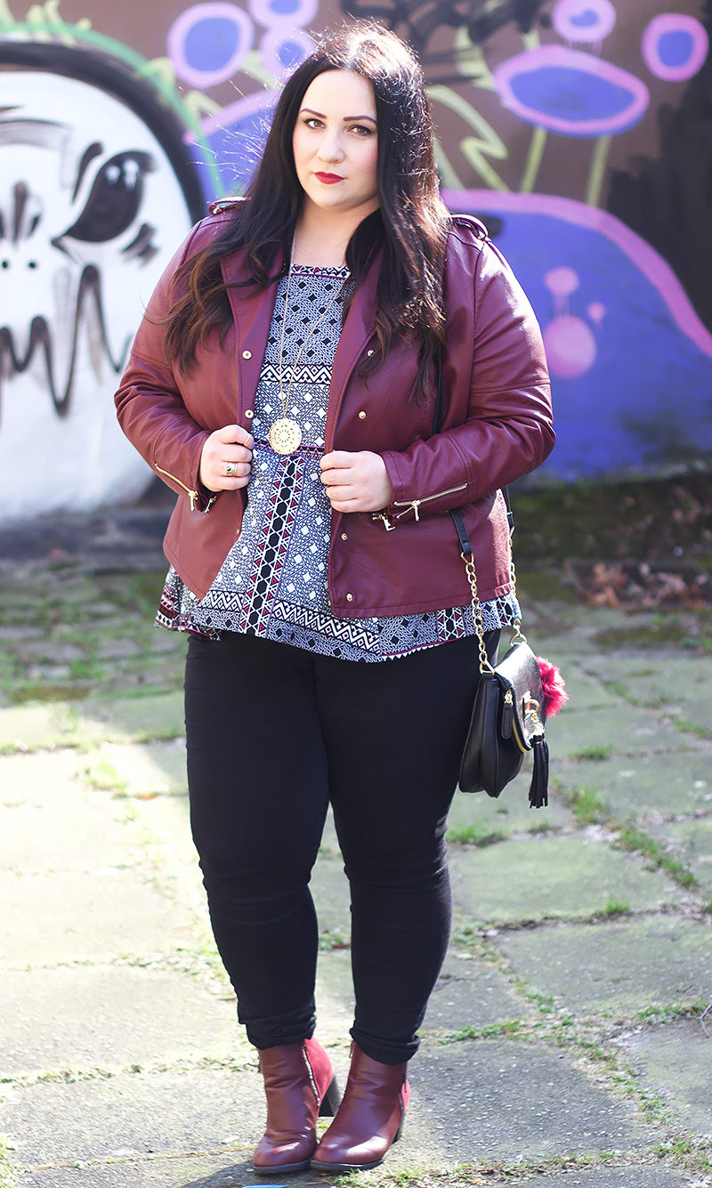 Plus Size Berry lederjacke
